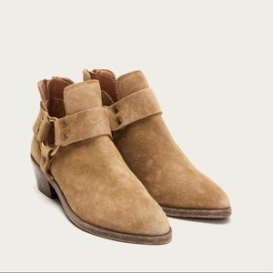Frye Ray Harness Brown Suede Booties. NEW. Sz 8.